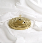 Communion Bread Plate Cover - Brass Tone Over Stainless Steel