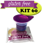 Gluten Free Communion Kit - Prefilled Juice Cups PLUS Individually Wrapped Gluten Free Wafers - BOX OF 60