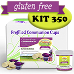 Gluten Free Communion Kit - Prefilled Juice Cups PLUS Single Gluten Free Wafers - BOX OF 350