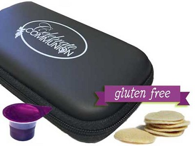 Travel Communion Case with Gluten Free Wafers plus 6 Prefilled Juice Cups